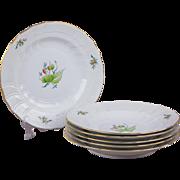 Set of Six Herend Rosehip Pattern Dinner Plates, 6 Piece