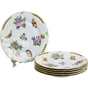Set of Six Herend Queen Victoria Rocaille Dinner Plates, 6 Pieces