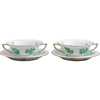 Set of Two Herend Queen Victoria Green Cream Soup Bowls with Saucers