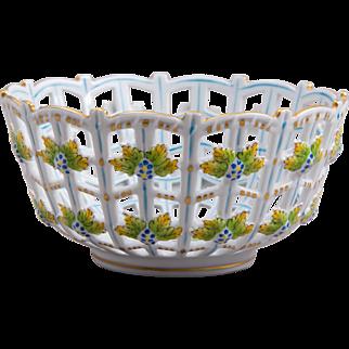 Herend Queen Victoria Open Weave Basket