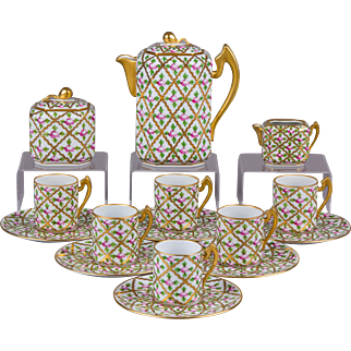 Herend SPROG Pattern Coffee Set for Six People, 17 Pieces