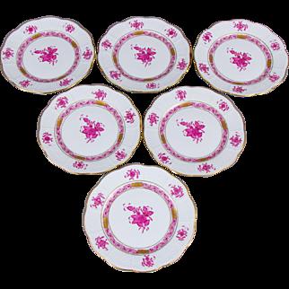 Set of Six Herend Chinese Bouquet Raspberry Dessert Plates