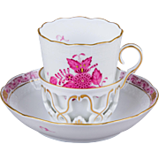 Herend Chinese Bouquet Raspberry Large Unique Coffee Cup with Saucer