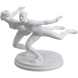Herend Pair of Ice Skaters Statue