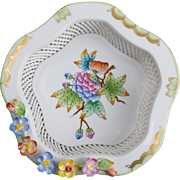 Herend Queen Victoria Open Weave Hexagonale Basket
