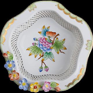 Herend Queen Victoria Open Weave Hexagonale Basket