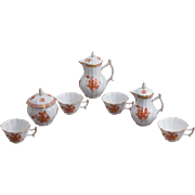 Herend Chinese Bouquet Rust Orange Tea Set for 4 Persons, 10 Pieces