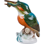 Herend Kingfisher Bird on a Stump Figurine