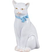 Herend White Cat with Blue Bow Figurine