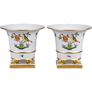 Pair of Herend Rothschild Bird Claw Footed Cachepots, 2 Pieces