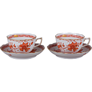 Pair of Herend Indian Basket Orange Large Tea Cups with Saucers, 4 Pieces