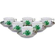 Set of Six Herend Chinese Bouquet Green Coffee Mocha Cups with Saucers