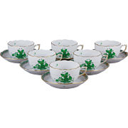 Set of Six Herend Chinese Bouquet Green Tea Cups with Saucers