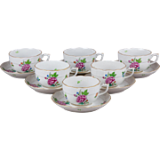 Set of Six Herend Eton Pattern Tea Cups with Saucers