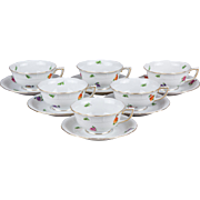 Set of Six Herend Flower Pattern Tea Cups with Saucers from 1939