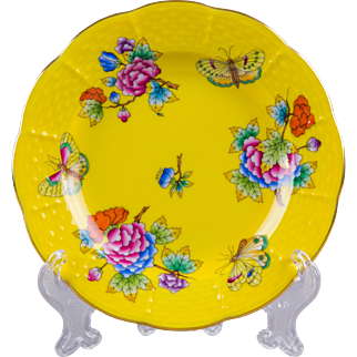 Herend Queen Victoria Yellow Background Plate