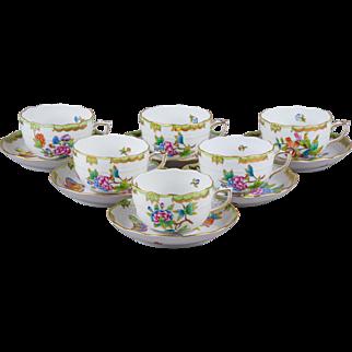 Set of Six Herend Queen Victoria Tea Cups with Saucers