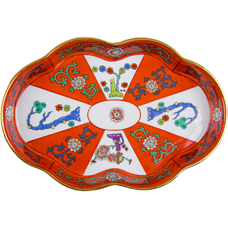 Herend Red Dynasty Godollo Pattern Ashtray