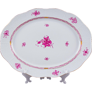 Herend Chinese Bouquet Raspberry XXL Oval Service Platter