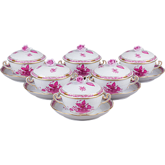 Set of Six Herend Chinese Bouquet Raspberry Cream Soup Bowls with Saucers