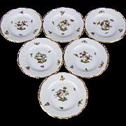 Set of Six Herend Rothschild Bird Bread & Butter Plates, 6 Pieces