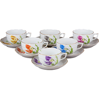 Set of Six Herend Kitty Pattern Tea Cups with Saucers