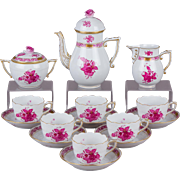 Herend Chinese Bouquet Raspberry Coffee Mocha Set for Six People, 17 Pieces