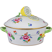 Herend Nanking Bouquet Vegetable Dish With Lemon Knob