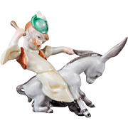 Herend Country Boy Riding Donkey Figurine
