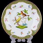 Herend Rothschild Bird Green Border Dessert Plate from 1921 - Motif #6
