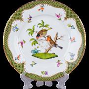 Herend Rothschild Bird Green Border Dessert Plate from 1921 - Motif #10
