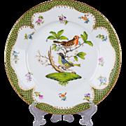 Herend Rothschild Bird Green Border Dessert Plate from 1921 - Motif #3