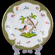 Herend Rothschild Bird Green Border Dessert Plate from 1921 - Motif #8