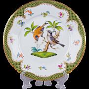 Herend Rothschild Bird Green Border Dessert Plate from 1921 - Motif #12