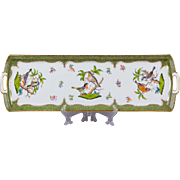 """Herend Rothschild Bird Green Border 19"""" Long Serving Tray from 1921"""