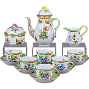 Herend Queen Victoria Coffee Mocha Set for Six People, 17 Pieces
