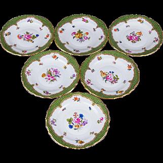 Set of Six Herend Vieux Bouquet De Saxe Green Border Dessert Plates