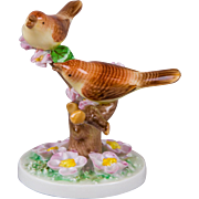 Herend Pair of Brown Birds on a Cherry Blossom Branch