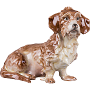 Herend Large Dachshund Figurine with Natural Painting