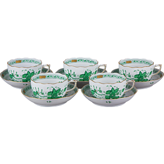 Set of Five Herend Indian Basket Green Tea Cups with Saucers