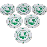 Set of Six Herend Indian Basket Green Appetizer or Dessert Plates