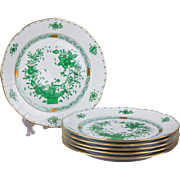 Set of Six Herend Indian Basket Green Dinner Plates, 6 Pieces