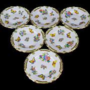 Set of Six Herend Queen Victoria Salad or Dessert Plates, 6 Pieces