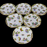 Set of Six Herend Queen Victoria Dessert Plates, 6 Pieces