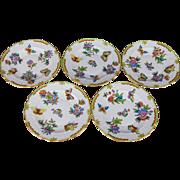 Set of Five Herend Queen Victoria Dessert Plates, 5 Pieces