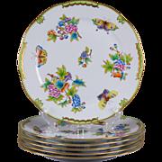 Set of Six Herend Queen Victoria Dinner Plates, 6 Pieces