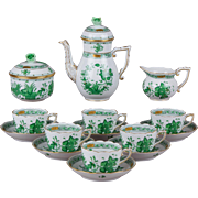 Herend Indian Basket Green Coffee Mocha Set for Six People, 17 Pieces