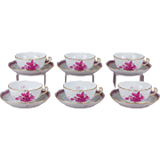 Set of Six Herend Chinese Bouquet Raspberry XLarge Tea Cups With Saucers Active