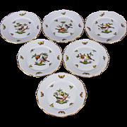 Set of Six Herend Rothschild Bird Dessert Plates, 6 Pieces