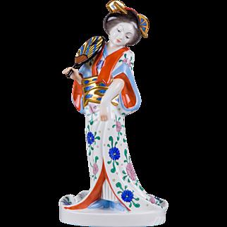 Herend Geisha in White Dress Figurine, Masterpiece